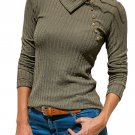Olive Green Ribbed Knit Turn Down Collar Top
