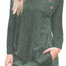 Triple Button Detail Green Heather Sweatshirt