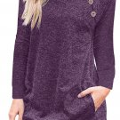 Triple Button Detail Purple Heather Sweatshirt