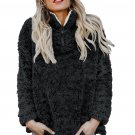 Black Zipper Fleece Pullover Coat