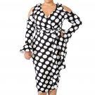 Black White Polka Dot Cold Shoulder Curvy Dress