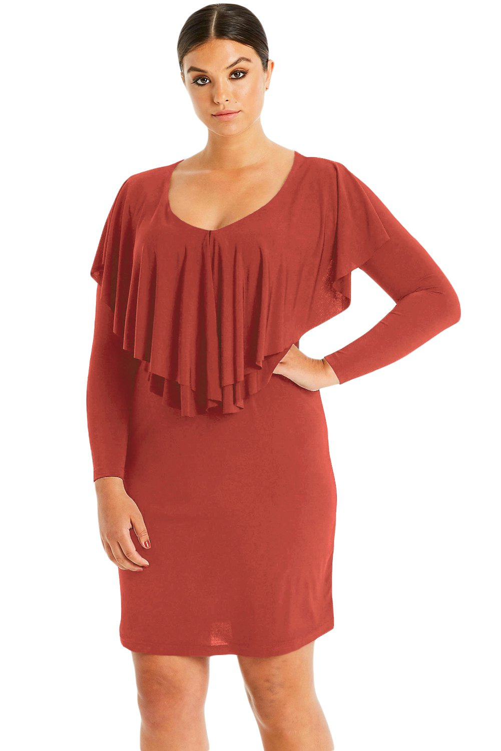 Rusty Red Ruffled Poncho Front Curvy Dress