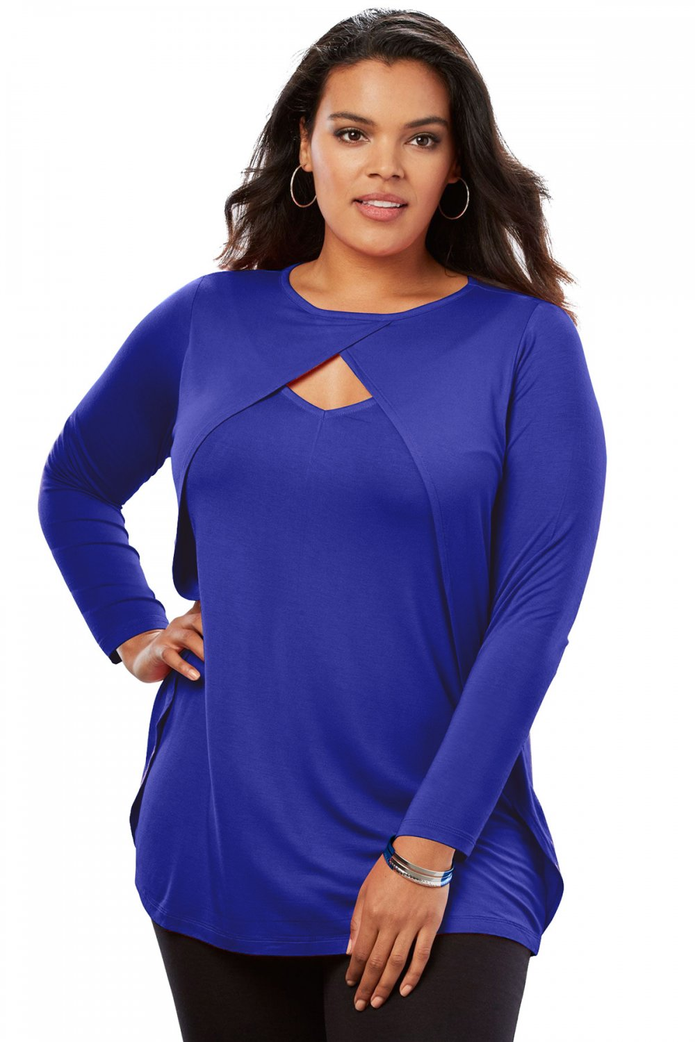 Navy Long Sleeve Keyhole Drape Plus Size Top