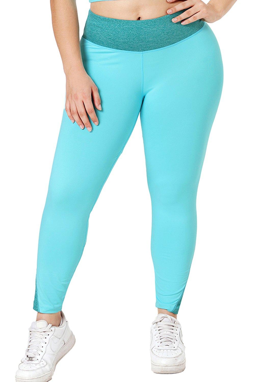 Sapphire Heathered Splice Plus Size Yoga Pants