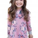 Pink Floral Hooded Girls' Sweatshirt