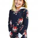 Navy Floral Hooded Girls' Sweatshirt