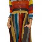 Orange Multicolor Striped Soft Cotton Tunic Dress