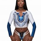 Blue African Print Zipped Tankini and Strappy Lace Up Swimsuit