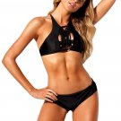 Black Delicate Macrame 2pcs High Neck Swimsuit