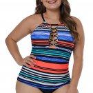 O-ring Lattice Neck Multicolor Striped Tankini Top
