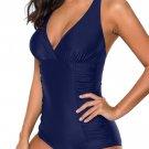 Blue Pleated Halter One Piece Swimwear
