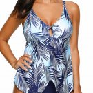 Blue Leaf Print Split Hemline One-Piece Swimsuit