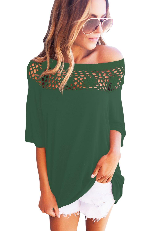 Army Green Crochet Neckline Top