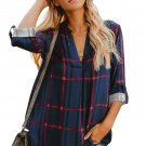 Navy Red Tricolor Plaid V Neck Blouse