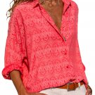 Red Graphic Geometry Button Down Blouse