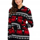 Cute Christmas Reindeer Knit Black Hooded Sweater