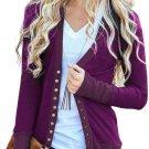Fashionable Purple 3/4 Sleeve Snap Cardigan