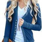 Blue 3/4 Sleeve Snap Cardigan
