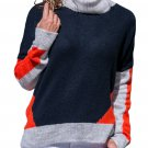 Coral Gray Colorblock Detail Navy Sweater