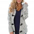 Heather Gray Fur Hood Horn Button Sweater Cardigan