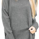 Gray Turn-up Sleeve Turtle Neck Sweater