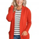 Coral Red Knit Long Sleeve Cardigan Top with Pockets