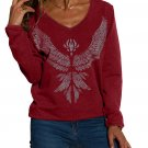 Burgundy Eagle Spread Wing Print Pullover