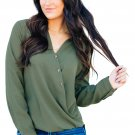 Olive Surplice Button Trio Top
