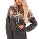 Charcoal Tribal Cowl Neck Kangaroo Pocket Sweatshirt