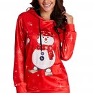 Red Christmas Pullover Snowman Pattern Hoodie
