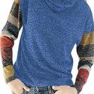 Color Blocked Long Sleeve Blue Cowl Neck Sweatshirt