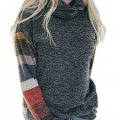 Color Blocked Long Sleeve Charcoal Cowl Neck Sweatshirt