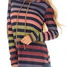 Multicolor Striped Drawstring Hoodie