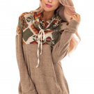 Brown Tribal Cowl Neck Kangaroo Pocket Sweatshirt