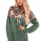 Sage Green Tribal Cowl Neck Kangaroo Pocket Sweatshirt