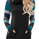Multicolor Striped Raglan Sleeve Black Cowl Neck Sweatshirt