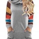 Multicolor Striped Raglan Sleeve Gray Cowl Neck Sweatshirt