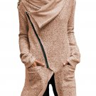 Women's Khaki Zippered Shawl Collar Jacket