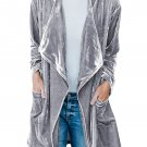 Gray Draped Open Front Velvet Jacket