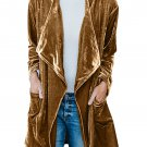 Bronzing Draped Open Front Velvet Jacket