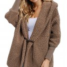 Coffee Woolen Fur Horn Button Oversize Jacket