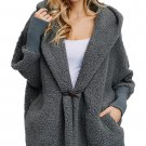 Gray Woolen Fur Horn Button Oversize Jacket
