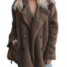 Coffee Fleece Open Front Coat with Pockets