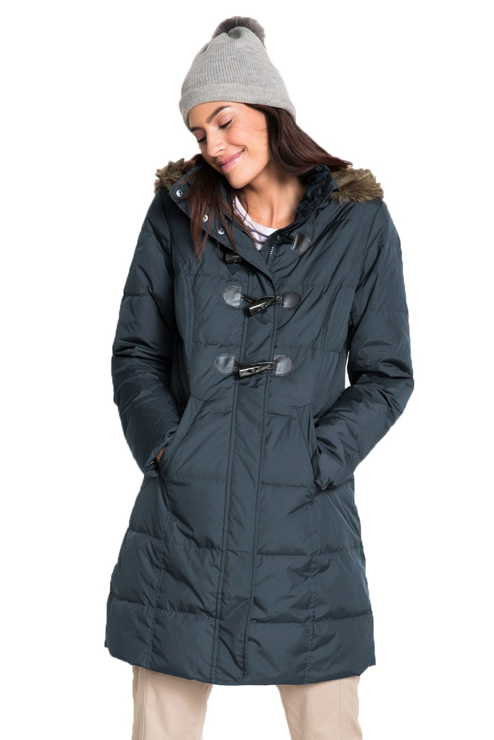 Gray Toggle Button Quilted Coat