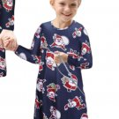 Navy Santa Claus Printed Girls Christmas Dress