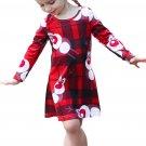 Cartoon Reindeer Plaid Printed Girls Christmas Dress