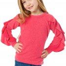 Rosy Ruffle Raglan Pullover Girls Top