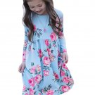 Floral Light Blue Swing Dress with Hidden Pockets