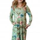 Floral Mint Swing Dress with Hidden Pockets