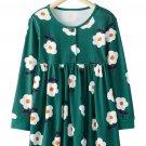 Little Flower Allover Green Flared Girl Dress